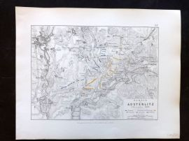 Alison & Johnston 1852 Battle Map. Battle of Austerlitz, Bohemia Czech Republic